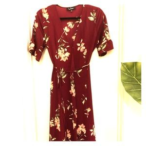 Lulus Maroon Floral Wrap Maxi Dress - Size Small